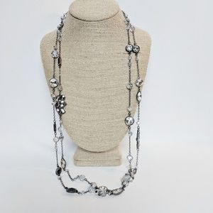WHBM Long Pewter Beaded Clear Necklace